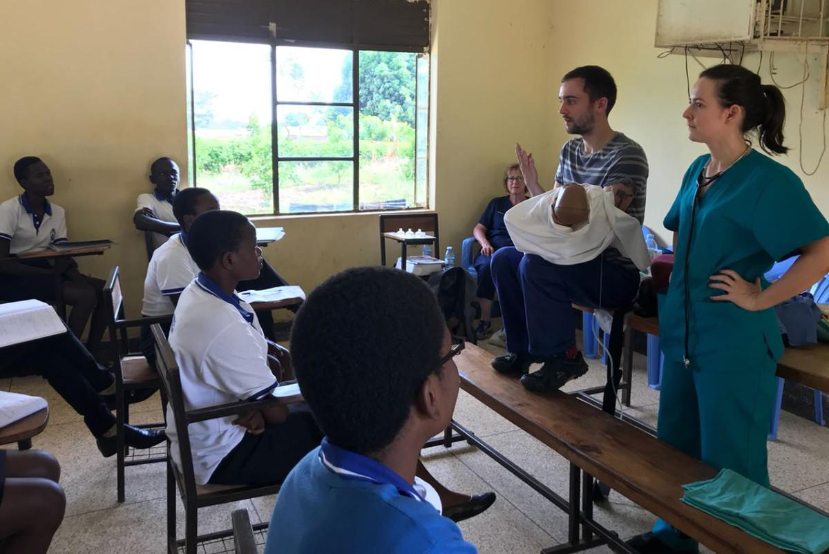 Ngora Freda Carr Hospital - March 2018 - Kate & Ian teaching in the classroom