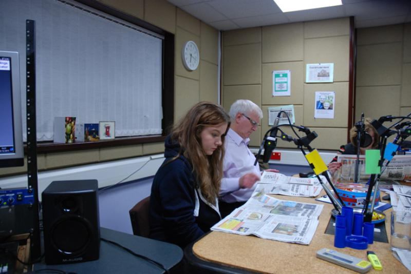 THE TALKING NEWSPAPER TEAM - Katie waiting patiently for her turn to read.