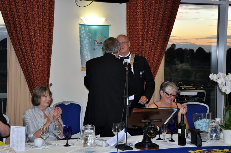 District 1040 Handover June 2012 - Keith accepting DG chains of office