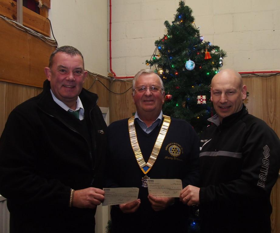 Cheque presentations - In December 2016 the Club presented £250 to Arbroath Cricket Club and £150 to Arbroath Lads Club. L-R Neil Burnett, (Cricket Club) President Harry Simpson Gavin Paterson (Lads Club)