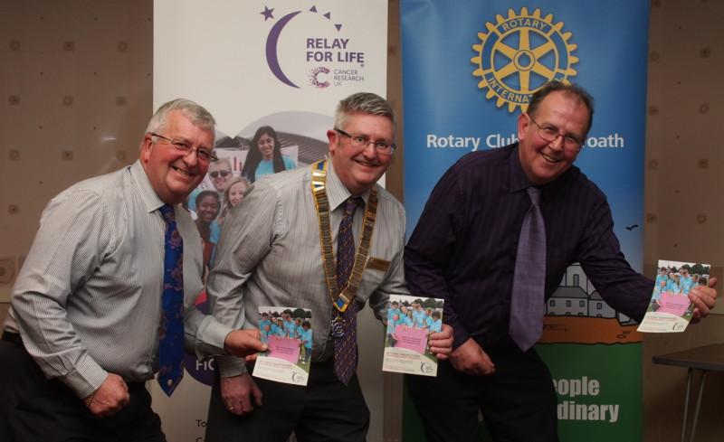 Club Photo Gallery July 2015 to June 2016 - L-R Harry Simpson, David Miller and Visiting Speaker Ian Angus get ready for the Relay For Life Event. Ian was a speaker in March 2016