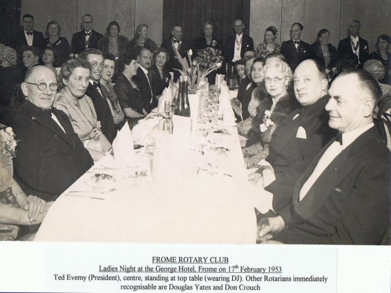 90 Years of history - Frome Rotary Club - Ladies Night at George Hotel 17th February 1953
