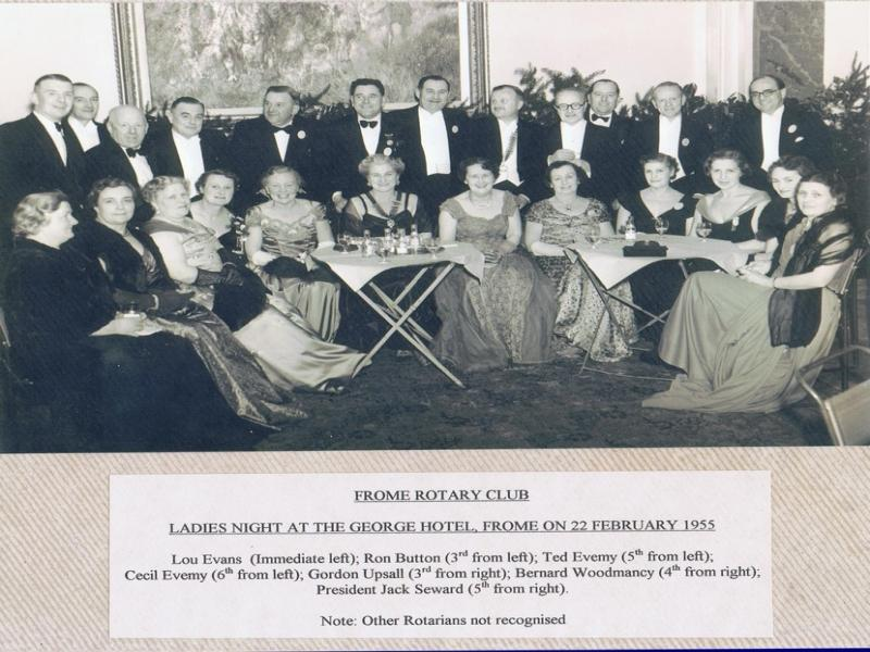 90 Years of history - Frome Rotary Club - Ladies Night at George Hotel 22 February 1955