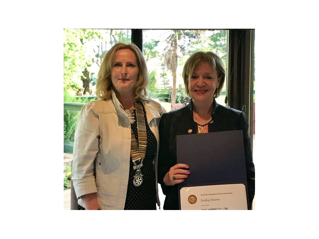 Paul Harris Fellows - Lesley was honoured in recognition for all the work she has undertaken both for Rotary and mental health groups for a considerable number of years.