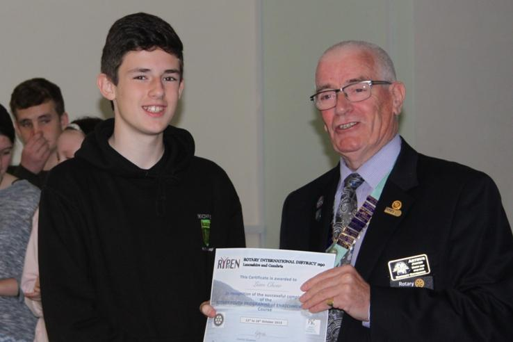 RYPEN - 2015 - Liam receiving his RYPEN course certificate from Rotary District Governor Arthur Jones.