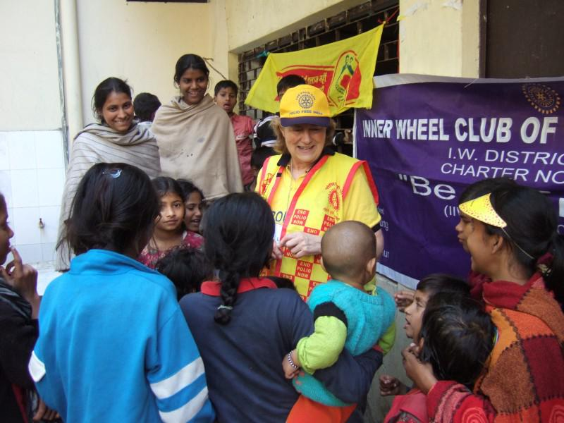 Immunisation Day in India - Linda and fans
