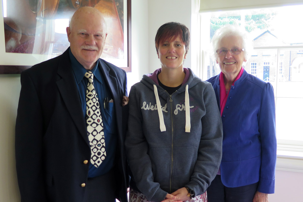 Lunchtime Meeting - 12.45pm - Speaker Liz Jermy, Oswestry Foodbank - (L-R) Foodbank volunteers John and Caroline Piffe-Phelps flank Liz Jermy Foodbank manager