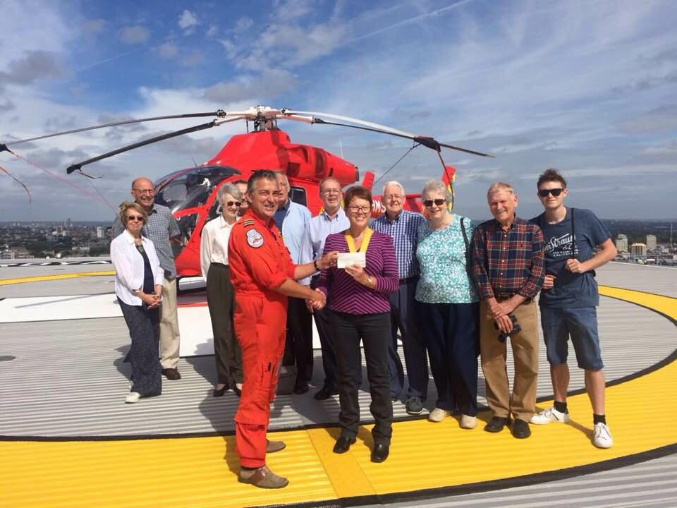 Recent News - Rotarians visited the HQ of the London Air Ambulance to present them with a cheque from our recent golf day