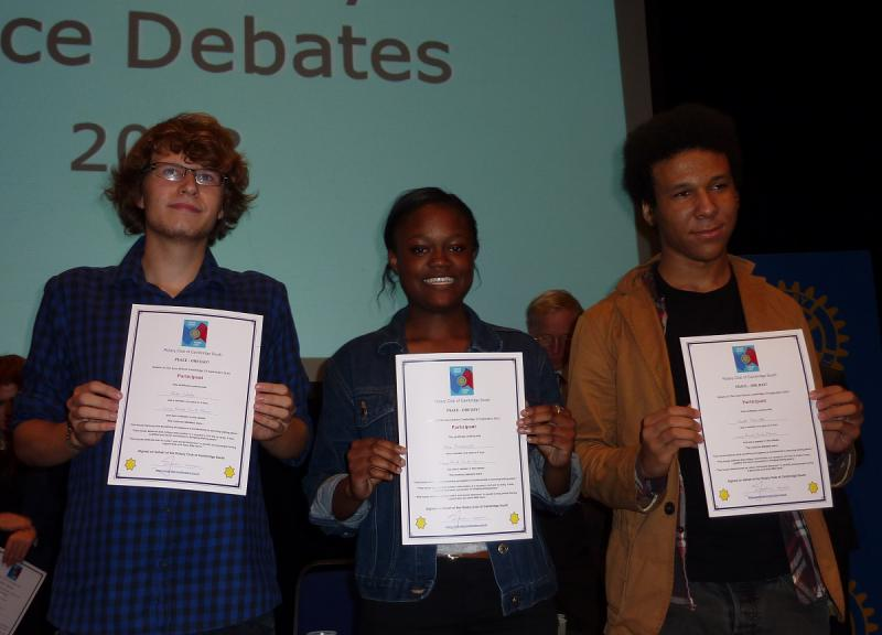 Sep 2013 Peace Talks and Debate with Sixth Form students - Long Road Sixth Form Team