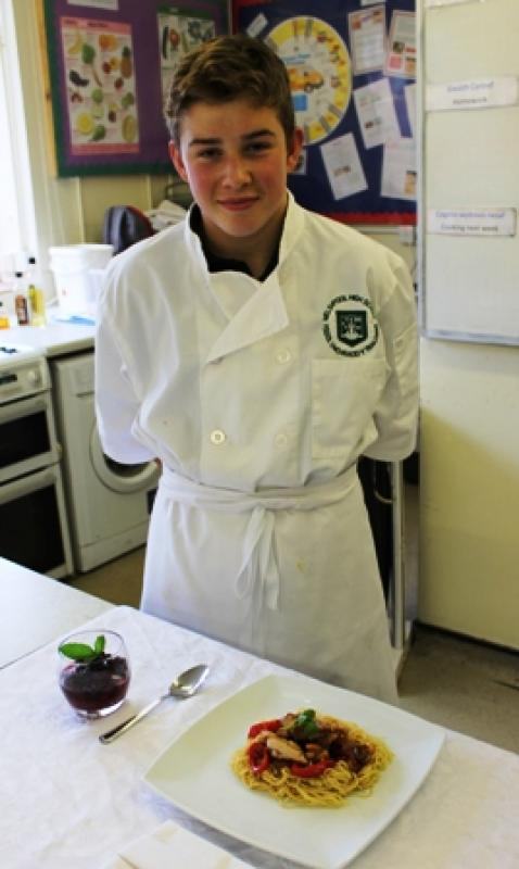 Young Chef 2014/15 - Luke with is meal