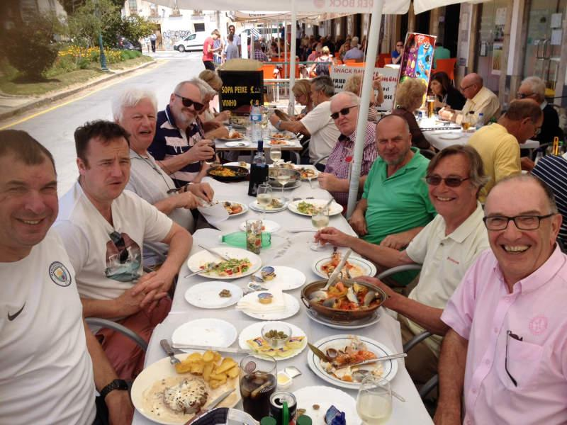 Visit to Rotary e-club in Olhao, Portugal in 2018 - Just made time for a bite to eat and a little alcohol