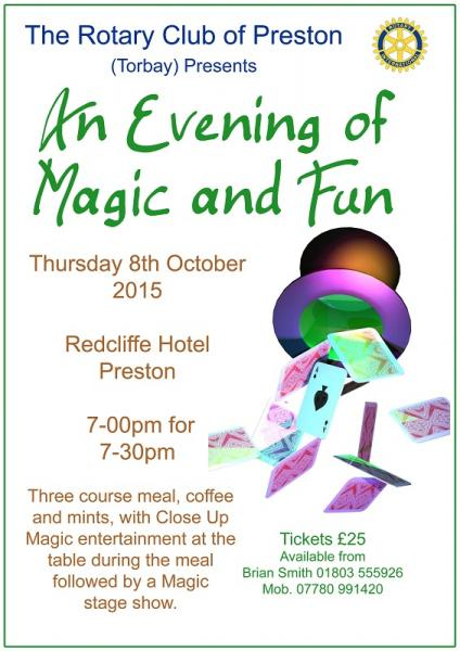 Fund Raising - An Evening of Magic & Fun - 8th October 2015 - Redcliffe Hotel, Preston, Torbay.