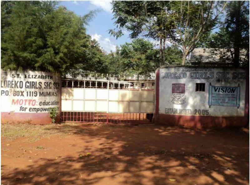 Provision of Information Technology to the St. Elizabeth Lureko Girls Secondary School in Mumias, Kenya - Gates are closed and there are security guards