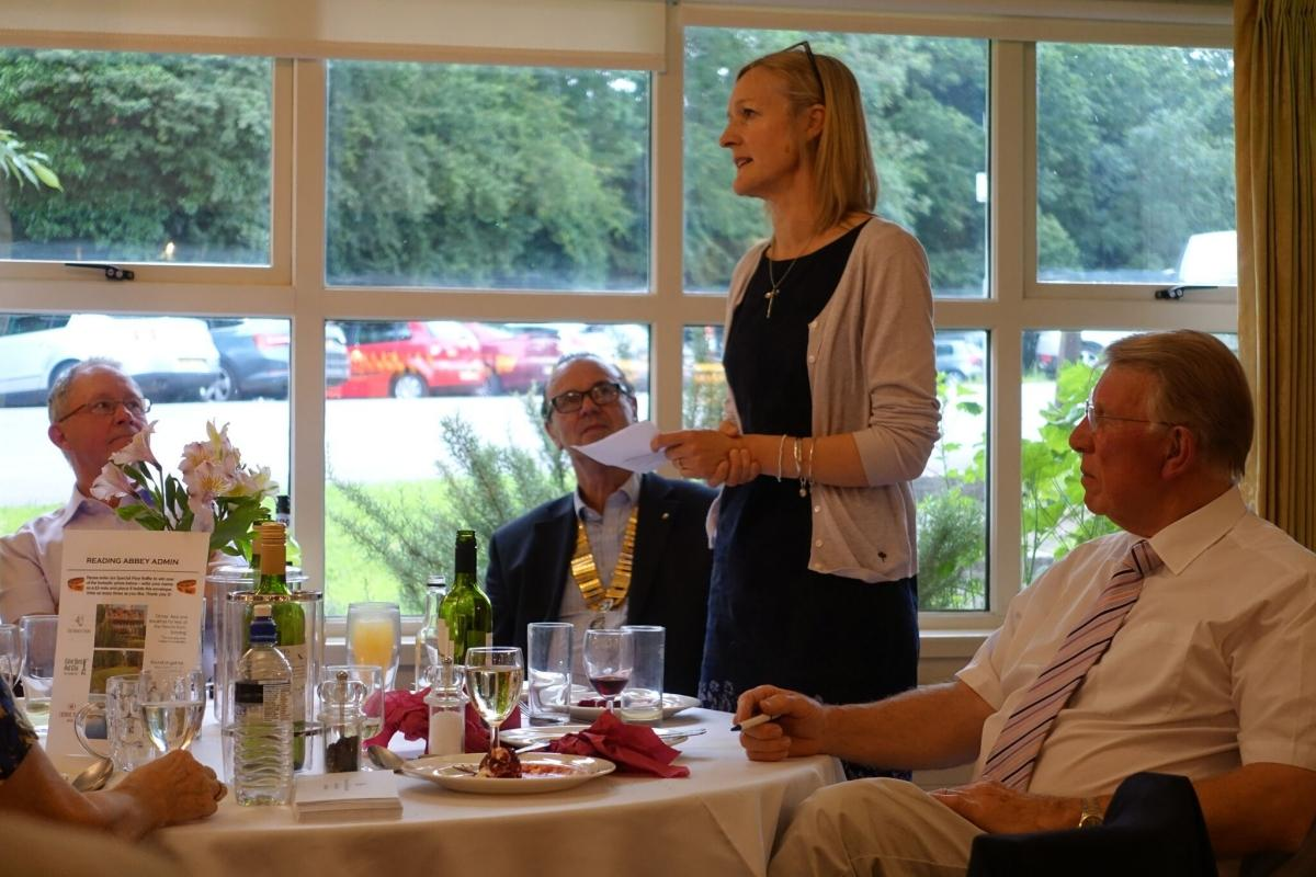 AM-AM Golf Competition - Mandy Barter from My Cancer My Choices addressing the teams and guests at the Am Am Evening Dinner