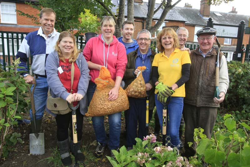 Growing Together to End Polio Now - Energetic new Rotarians joined with Riley Park Trust volunteers to add 10,000 purple crocus corms to the make-over of this popular park