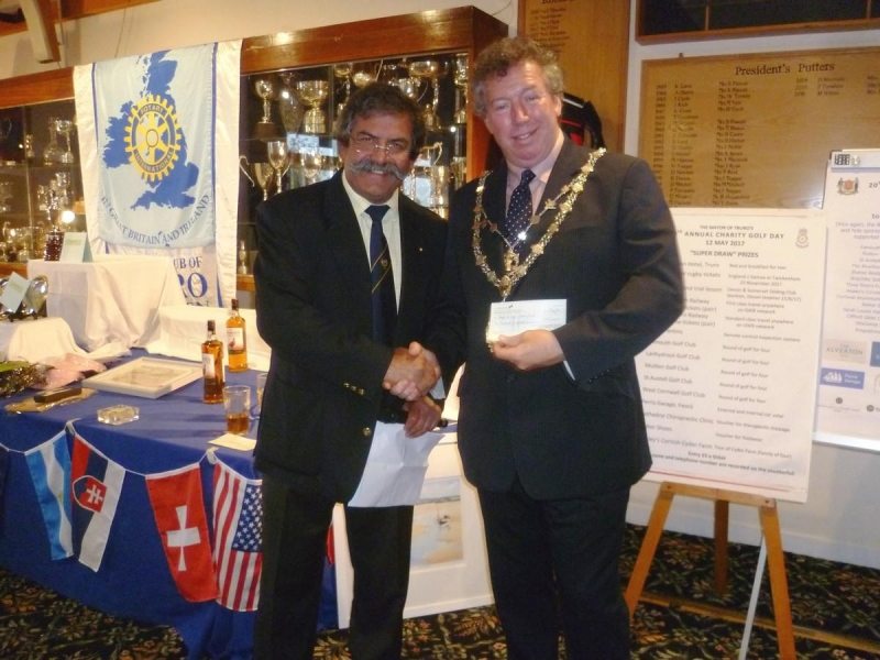20th Annual Mayor of Truro's Charity Golf Day, 12 May 2017 - Raj Dhumale presents the Rotary Club cheque to the Mayor