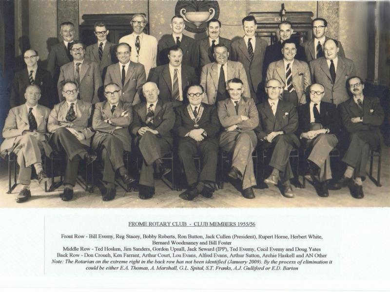 90 Years of history - Frome Rotary Club - Members of the Rotary Club in 1955-56