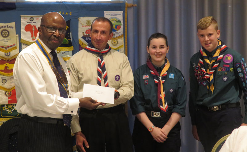 Senlac Classic Car Show and Craft Fayre Cheque Presentation - Michael-Brett-of-the-Explorer-Scouts-recievws-a-donation-from-President-Fitz-Fitgraham