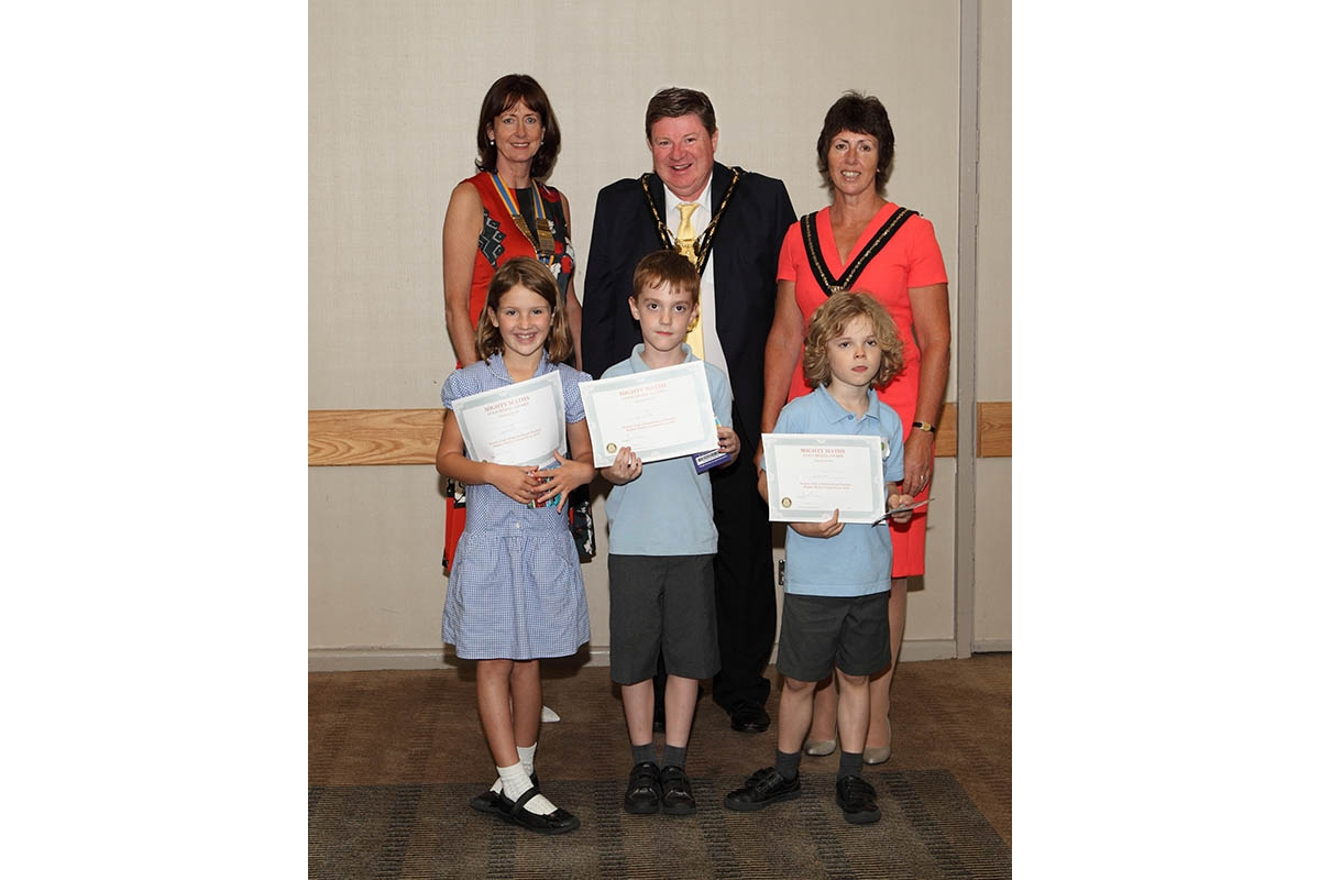 Mathematical Magic from Maidenhead Thames - The winning team from Cheapside, Ascot receive their certificates from Rotary club president Julia Collis and Mayor and Mayoress of the Royal Borough Cllr Paul and Laura Lion