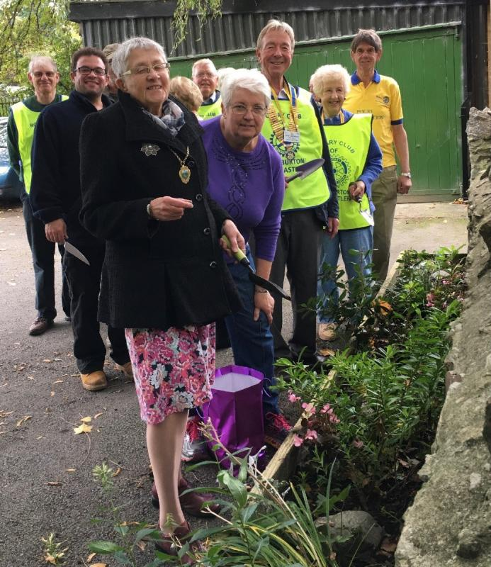 Purple4Polio  - Buckfastleigh Rotarians were led by the Deputy Mayor and members of the Millennium Trust to plant in the Millennium Green.