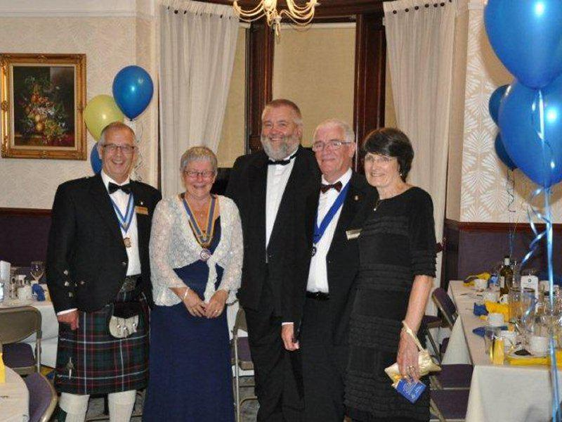 Millom Club Charter Dinner 2014 - Mick & President Hazel, Speaker Ch/Supt Karl Smethem, DGE Arthur Jones and Carol.