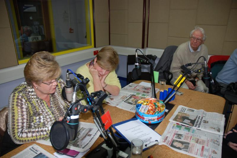 THE TALKING NEWSPAPER TEAM - Yet more concentration.