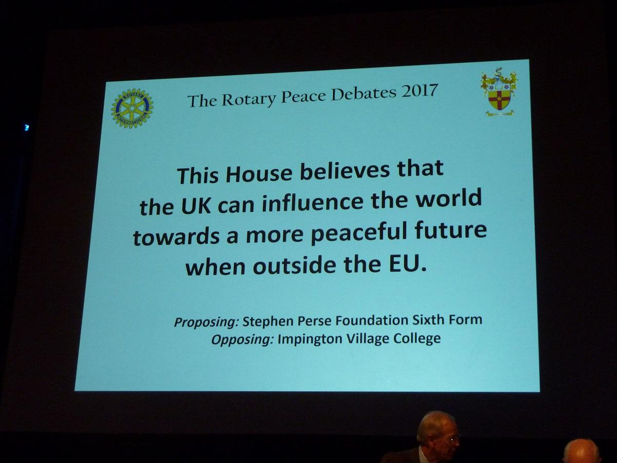 Oct 2017 Sixth Form Debate Competition - Peace & Conflict Resolution - .