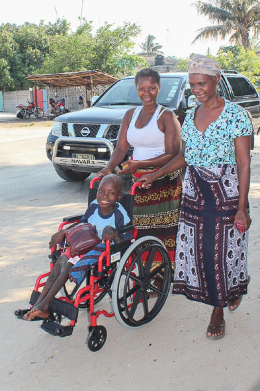Wheelchairs in Mozambique - delight on their faces