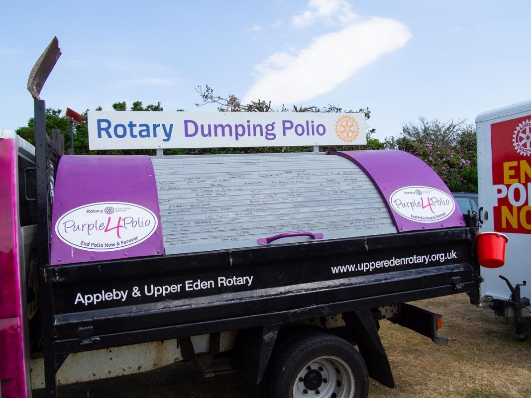 Rotary Village North Cumbria - Mr Dumpy promoting Rotarys campaign to eradicate of polio