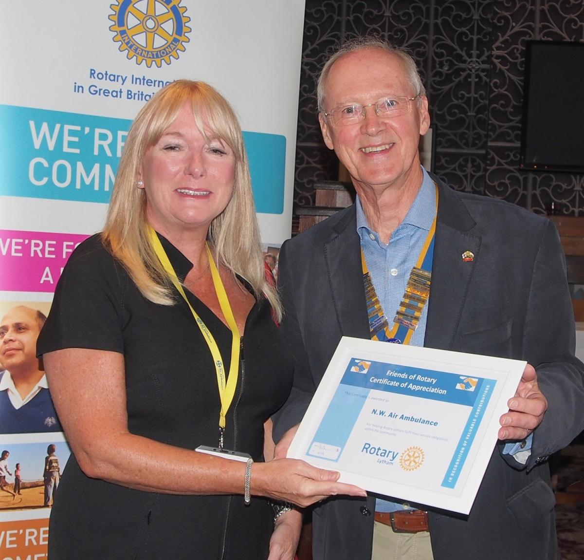 Lytham Rotary celebrates - NW Air Ambulance's Lynne Whittaker