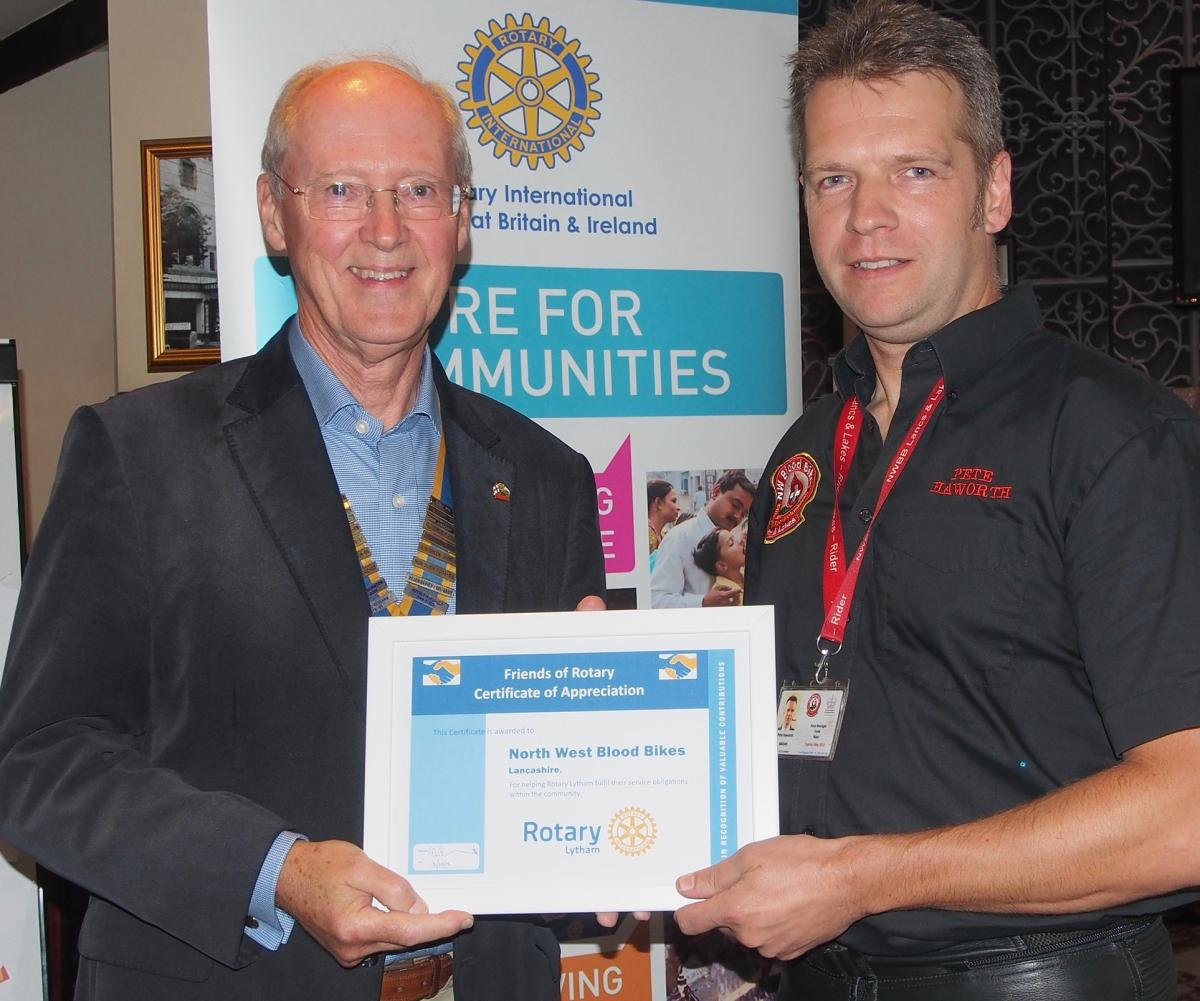 Lytham Rotary celebrates - NW Blood Bike Area Manager Peter Howarth