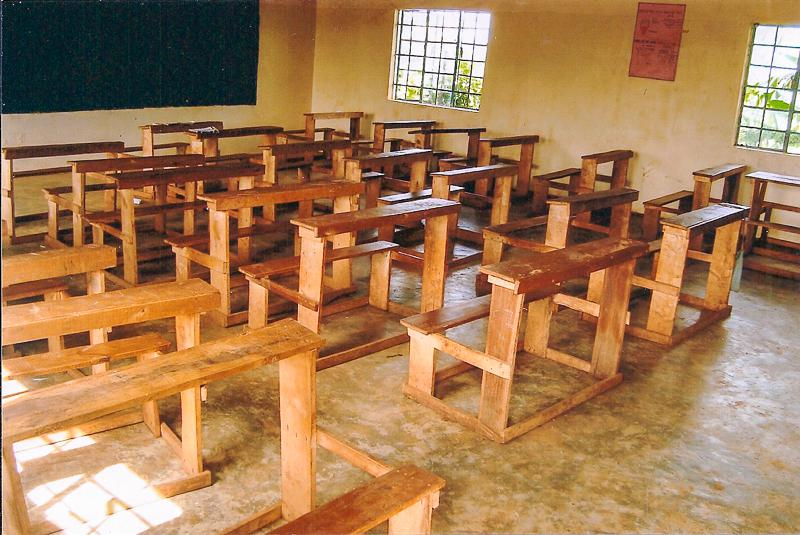 Education Western Kenya - Some of the 120 new desks ready for action.