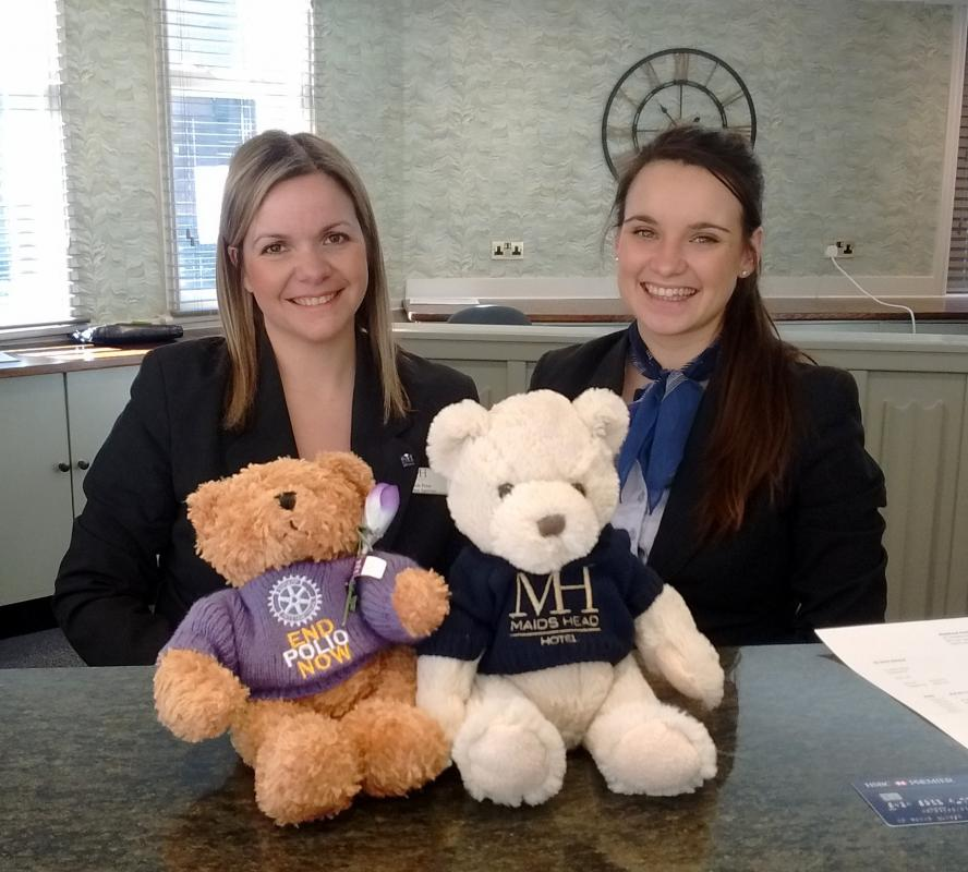 Fred Bear raising awareness and funds to end polio - Lovely staff at Maids Head Hotel, Norwich - and a new friend!