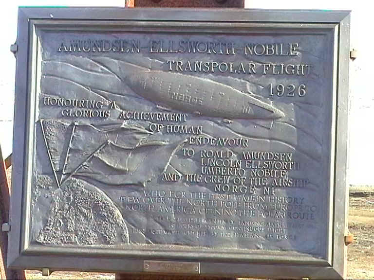 Spitsbergen -  Plaque commemorating the Airship flight in 1926.