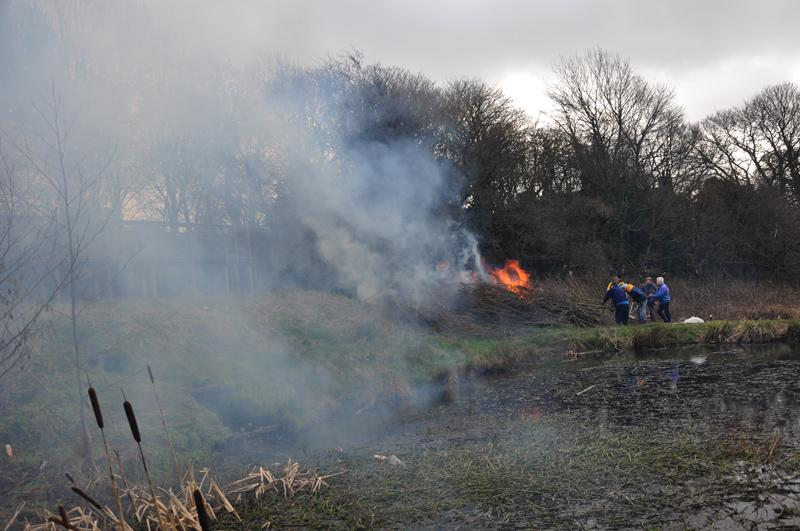 Oakwell Hall Country Park Environment tasks  - smoke bellowing around