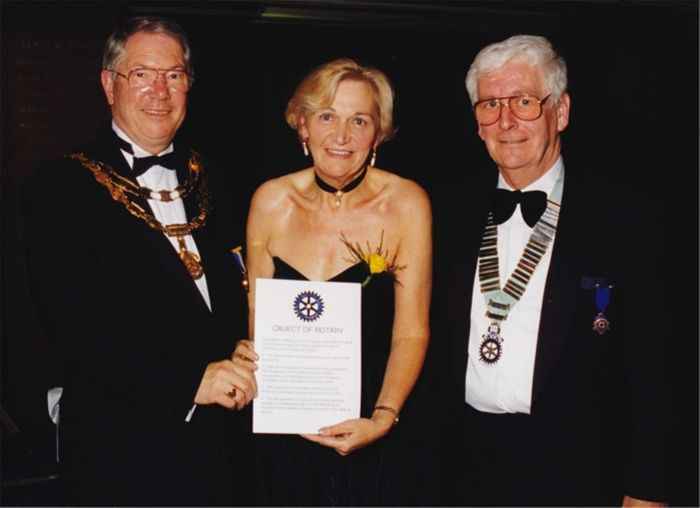 Club Charter Night - Toni Letts receives Illuminated Objects of Rotary