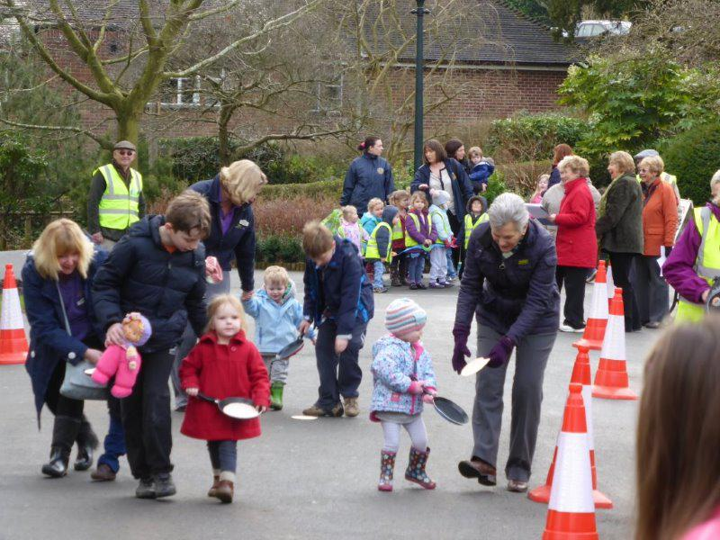 Pancake Race -  February 2014 - Toddlers racing