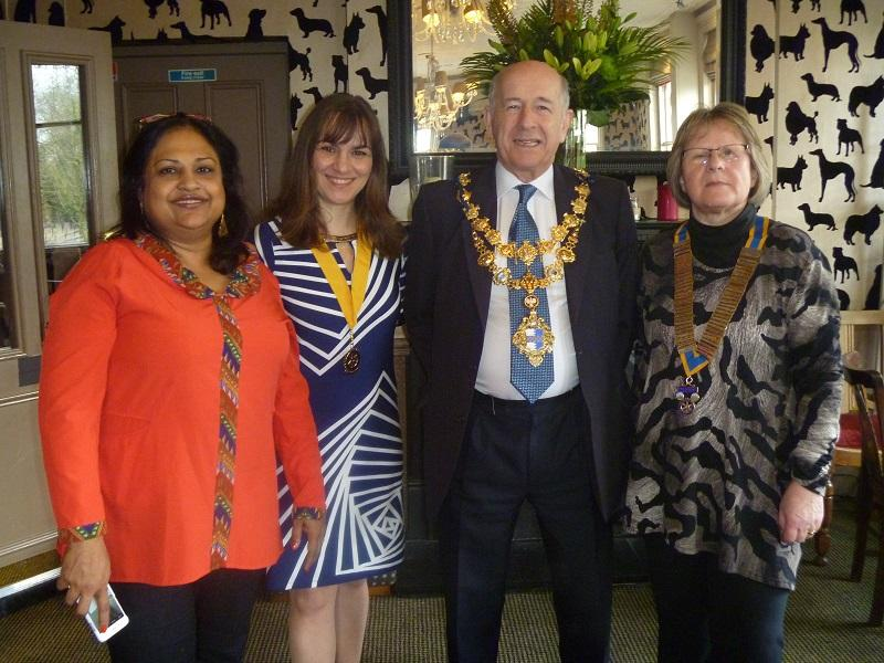 Visit by the Mayor of Wandsworth - Mayor of Wandsworth with President Gill and Rotarians Syeda and Sennia