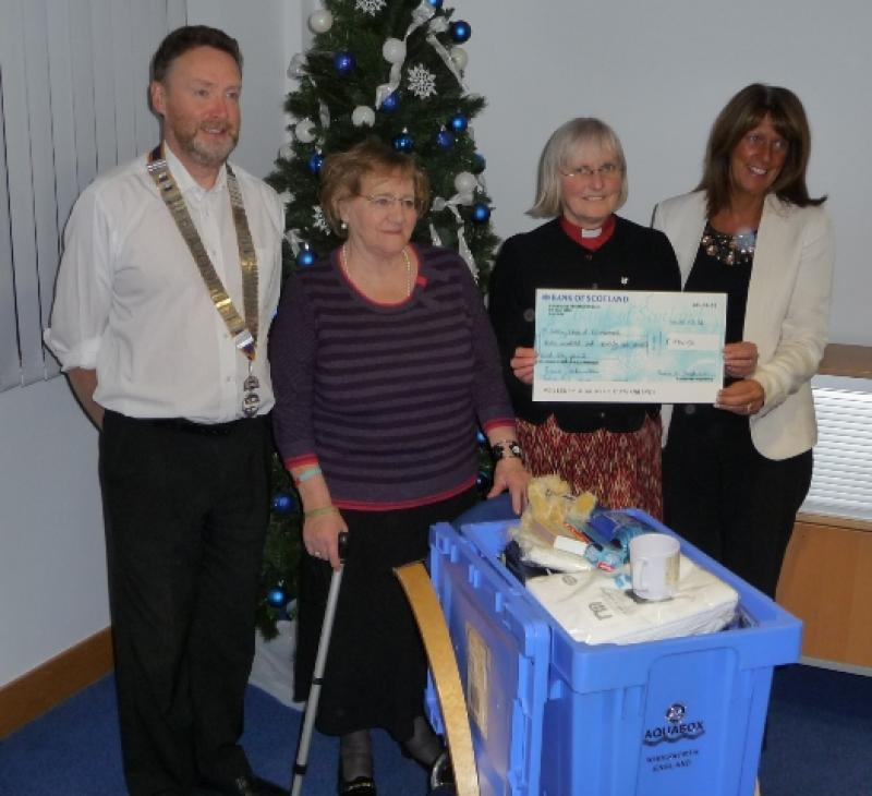 Aquabox 2012 Project - Rev. Susan Anderson of St. John's Onthank Parish Church, Glennis Findlay of Onthank Primary School and Mrs Dale with President Alan Lannigan
