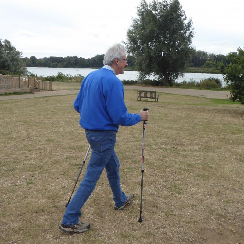 Tibbs Dementia Foundation attracts further support  - President Bob Knowles strides out to test the poles