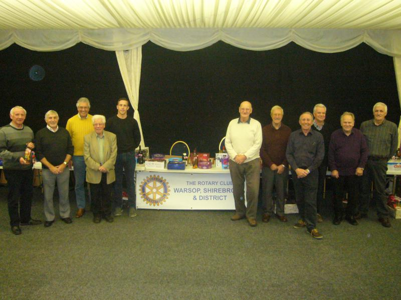 Rotary Christmas Prize Draw - Members of the RC of Warsop, Shirebrook & District gather on the night of the prize draw
