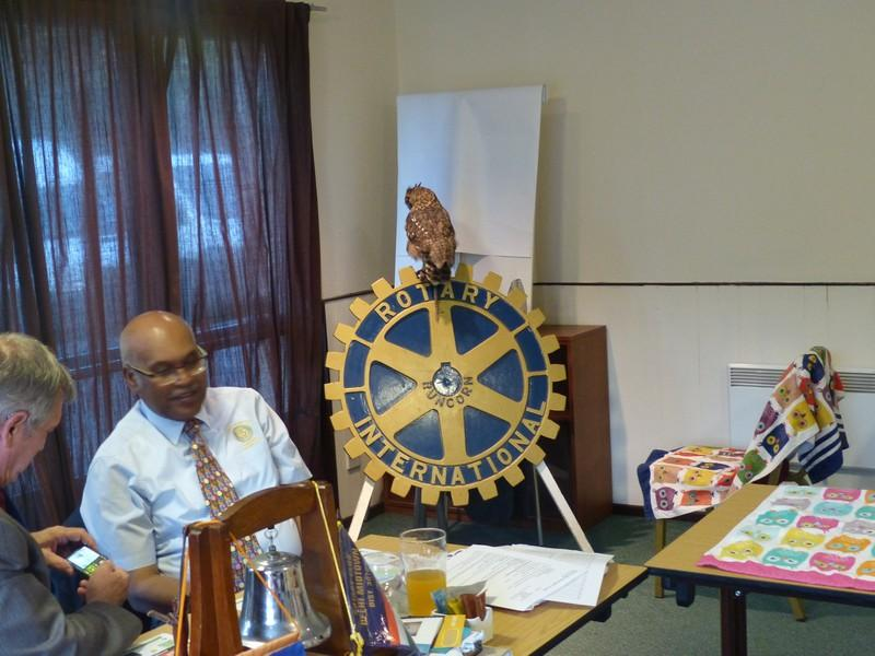 Club Meeting + Guest speaker Anita talking about Vocation - Idris sitting on the Rotary wheel
