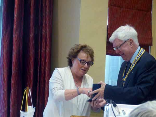 Handover Meeting - Morag receiving the Past-President's medal