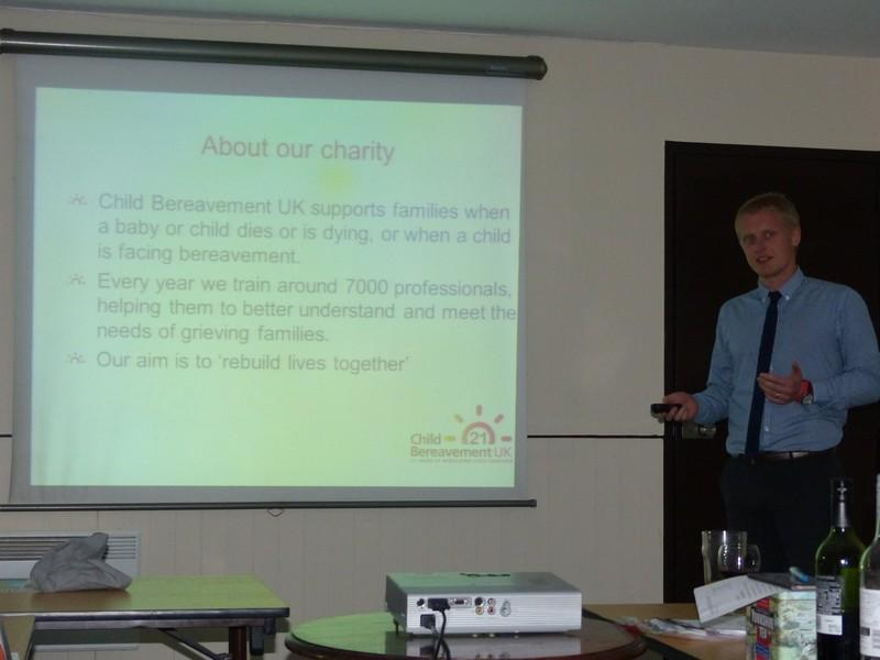 Club Meeting + Speaker Johnathon Evans on Child Bereavement - Johnathon Evans talking about the Charity