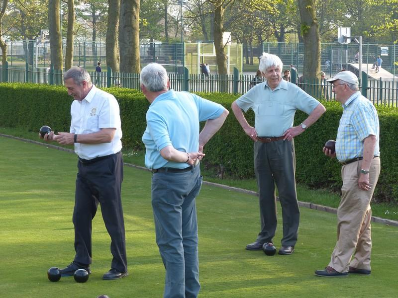 Fun Bowls evening with Widnes Rotary Club at Victoria Park Widnes - President Ray & Dave 