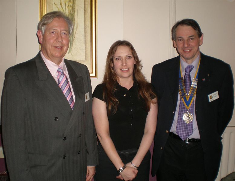Amy Leigh is made an honorary member of the Club. She is pictured with Ian Hazel, left, and Club President Andrew Hopkins.
