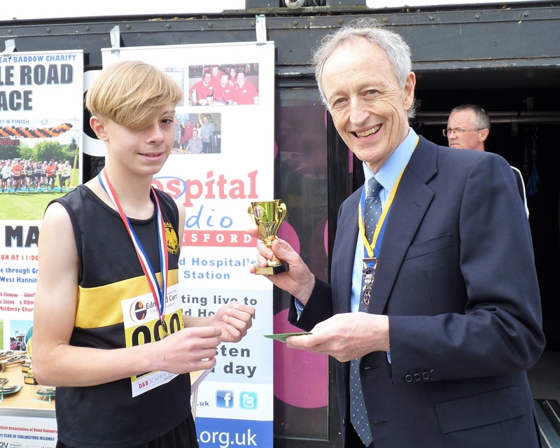 Great Baddow Charity Races - Alex Wall with President Ian Hutchinson