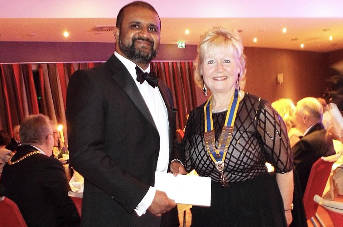 President's Evening - President Pauline presented a donation to Dr Ram Senasi towards the Laos Project.