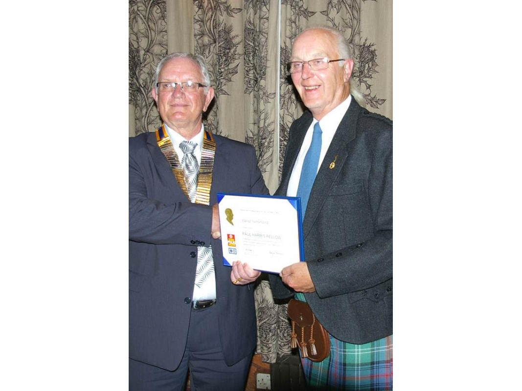Paul Harris Fellows - David was presented with his PHF by President Fred Pearson.
