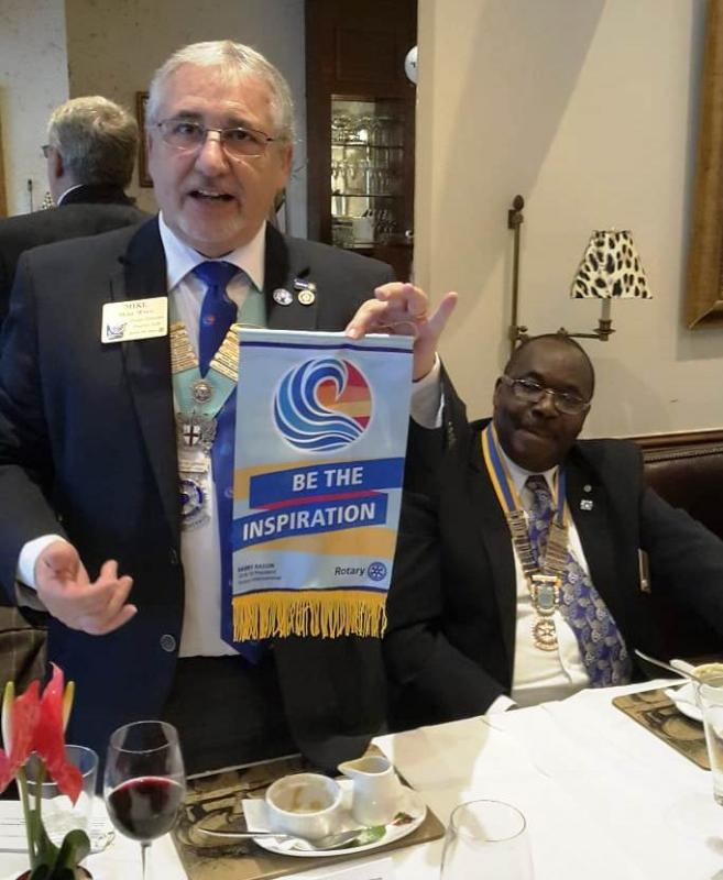 District Governor's visit on 19th September 2018 - Getting ready to present his banner